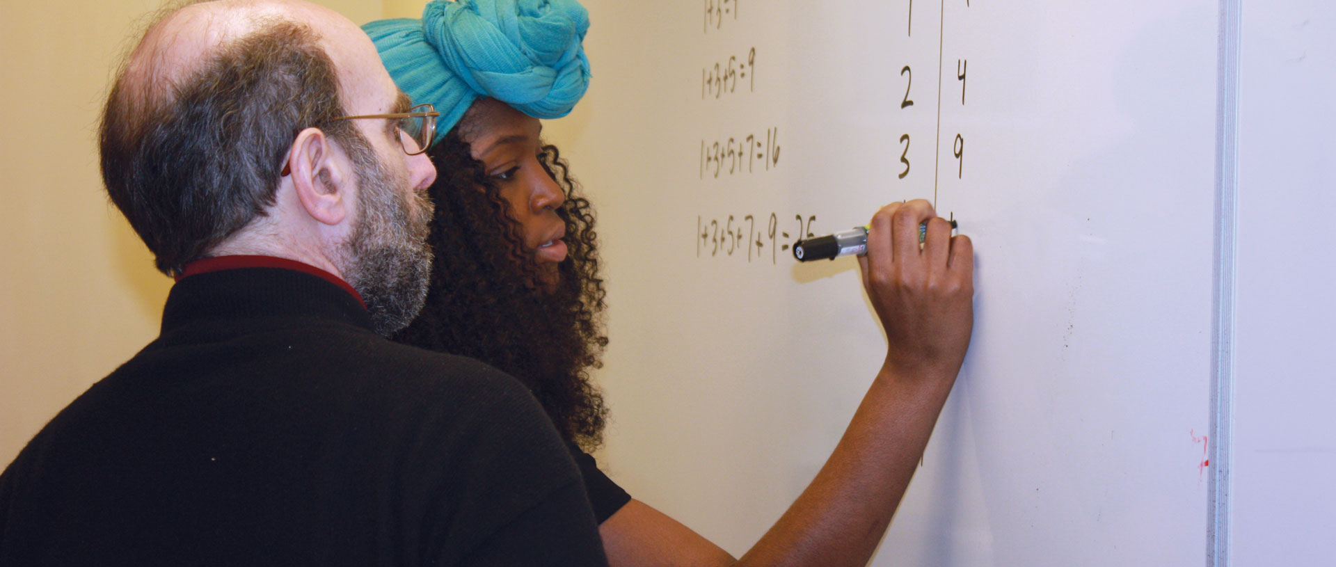 Female undergrad student working on math with professor.