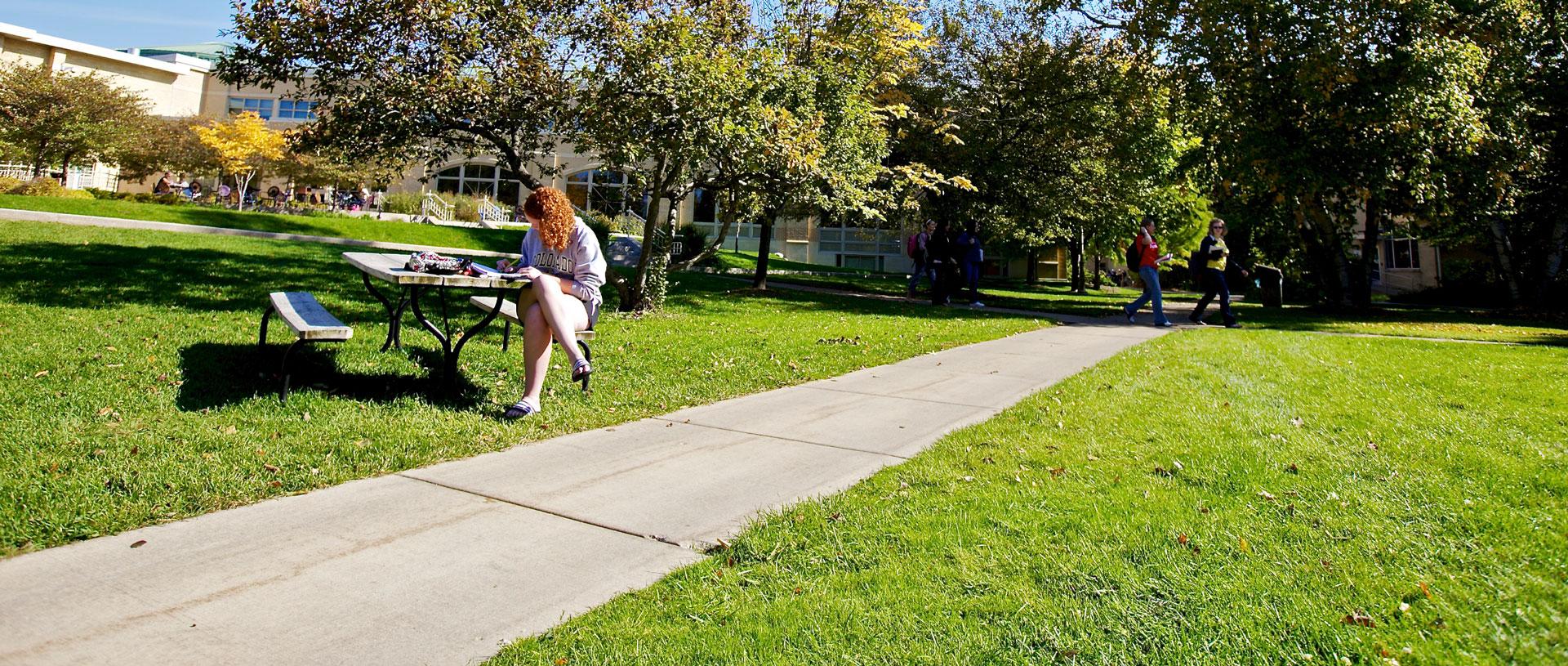 Undergrad female studying outdoors.