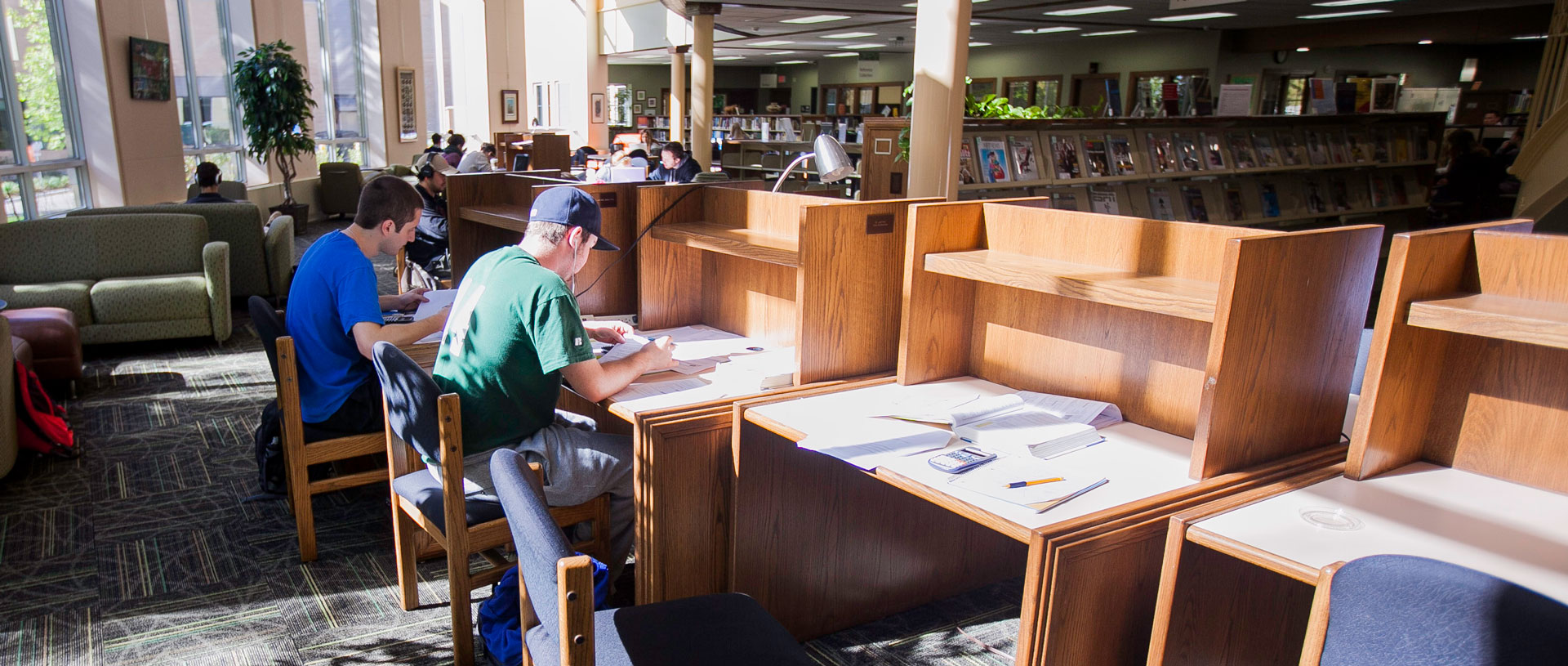 Undergrad students studying in the Library.