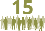 The number 15 with silhouettes of people standing in a crowd