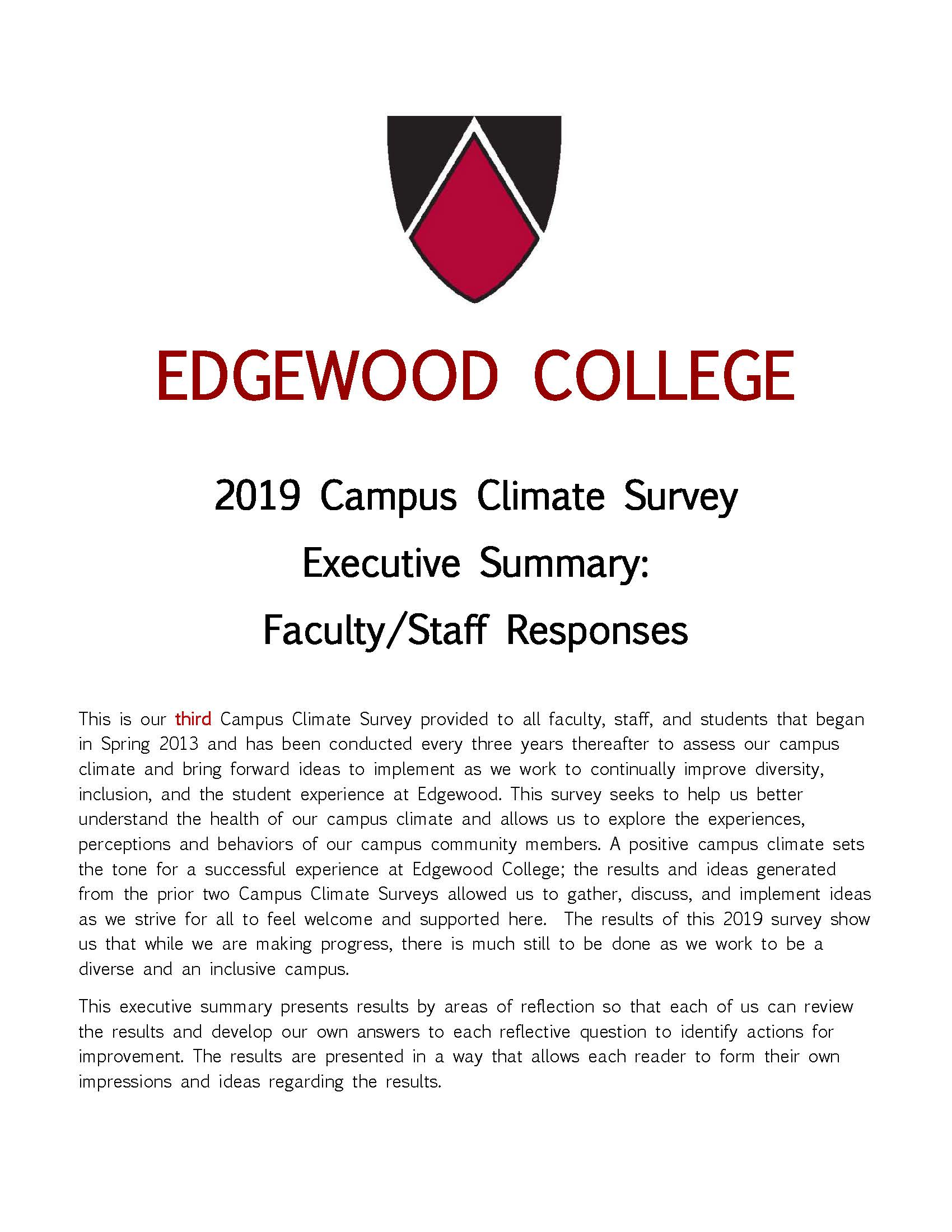 Cover of 2013 Exe Summary Faculty Staff Responses