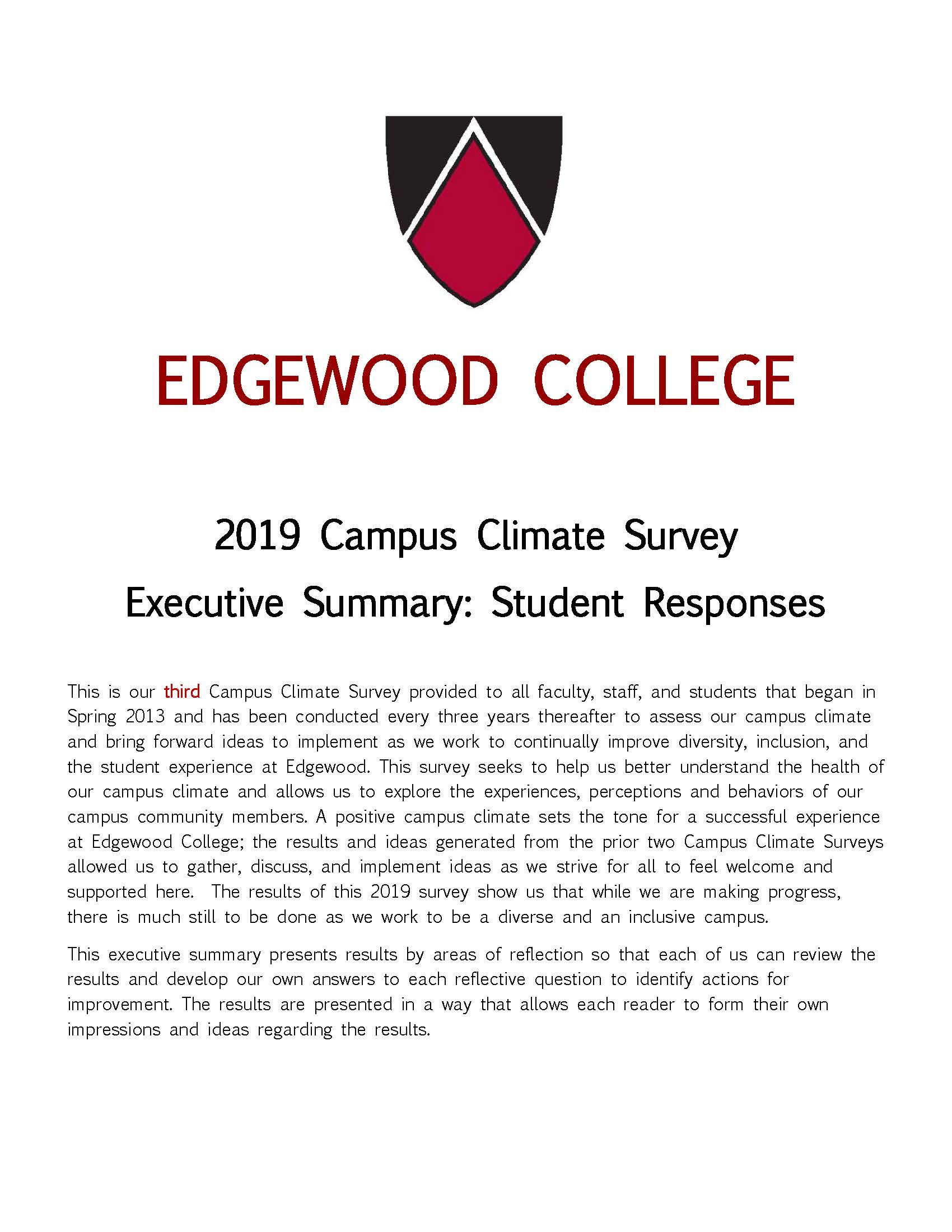Cover of 2013 Exe Summary Student Responses