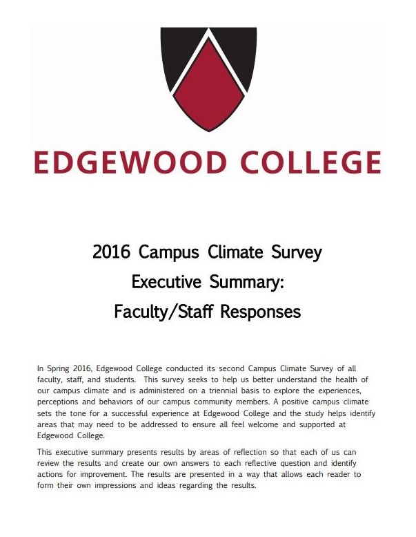Cover of 2016 Exe Summary Faculty Staff Responses