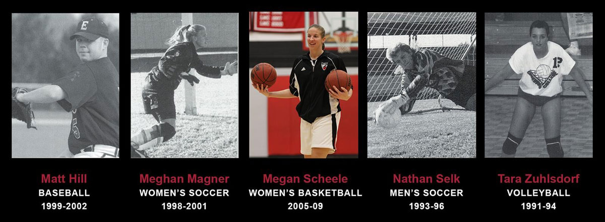 Photos of five athletes, left to right, baseball, soccer, basketball, soccer, and volleyball