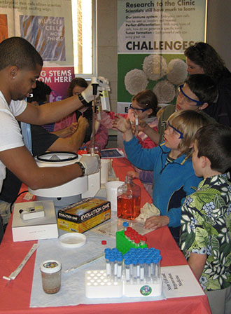 Students watching an experiment take place