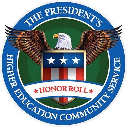 Seal of the President's Higher Education Community Service Honor Roll, eagle encompassed in a blue circle