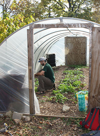 Ben in hoop house